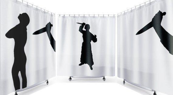 Psycho Halloween Shower Curtain Scary Horror Bathroom Decor