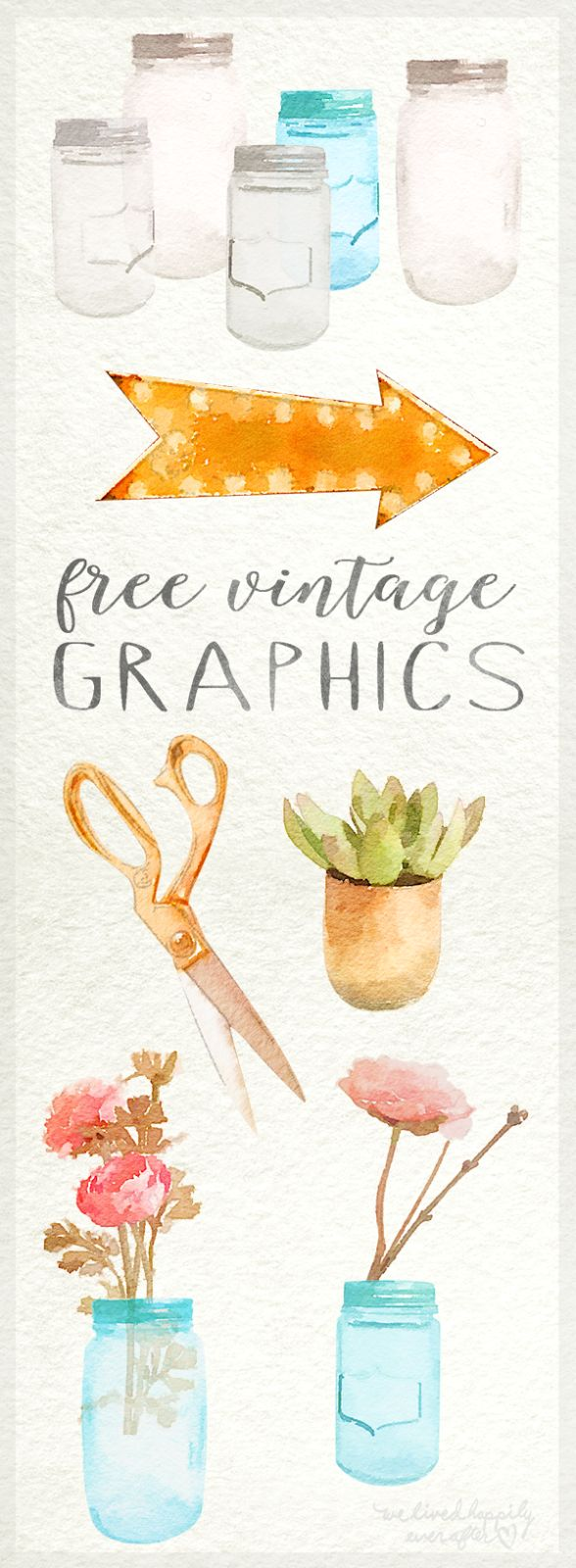 I have some fun free watercolor graphics for you all today! I mean, what's better than Mason Jars, Marquee Lights, Succulents, and Gold...
