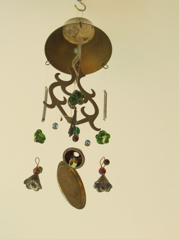 Decorative Metal Windchime Made With Repurposed and Recycled Parts and Glass Beads. Repurposed Garden Art Mobile With Upcycled Bells