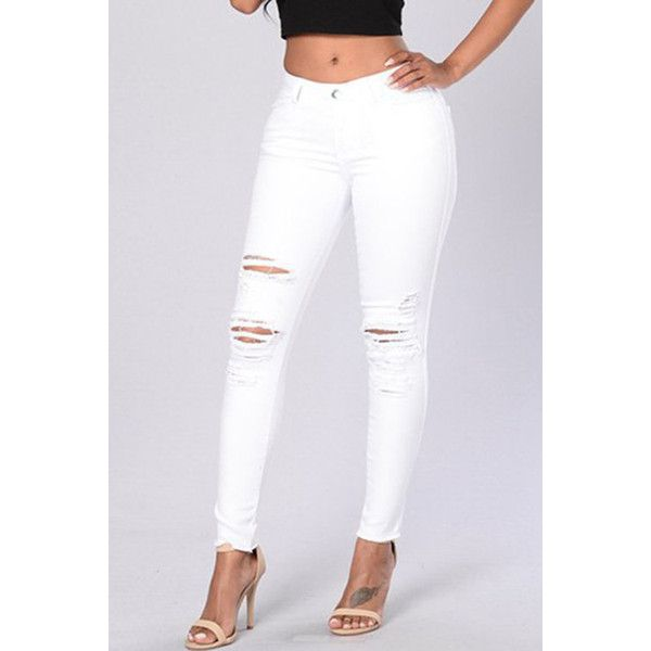 High Waisted White Ripped Skinny Jeans - Xtellar Jeans