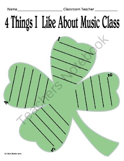 Shamrock Music Likes from Miss Barker's Musical Materials on TeachersNotebook.com -  (1 page)  - A great page for students to use for Music in Our Schools Month, for reflection, or both! If your district is asking for more writing across the curriculum, here is another opportunity to incorporate it.