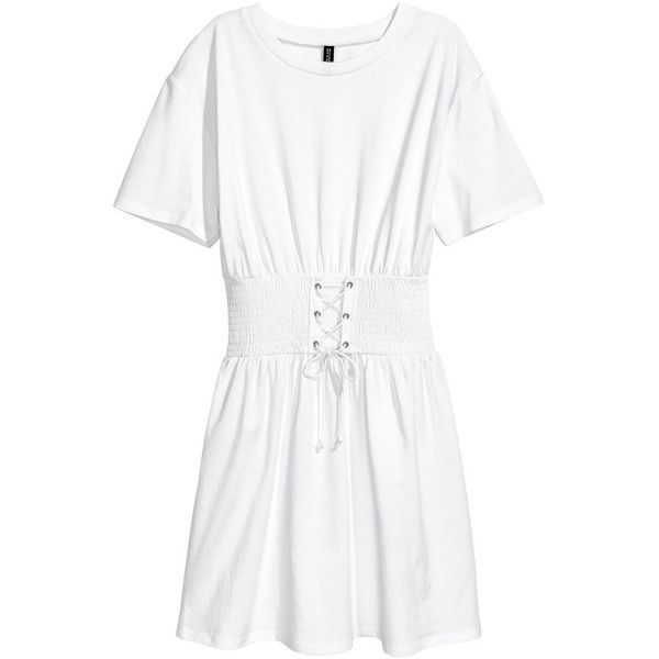 T-shirt Dress with Lacing $24.99 ($25) ❤ liked on Polyvore featuring dresses, white smock dress, white t-shirt dresses, short dresses, smocked dresses and t shirt dress