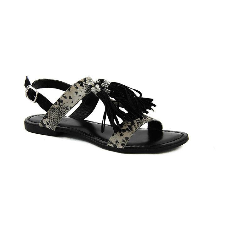 Sandalia negra con estampado y borlas de piel, cómodas, ligeras y sujetas, muy bonitas puestas