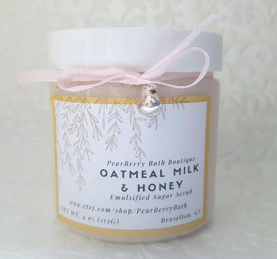 Oatmeal Milk and Honey #EmulsifiedSugarScrub #BodyandBath #etsy #handmadesugarscrub #sugarscrub #etsyhandmade #homemadebeautyproducts