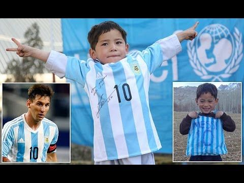 Afghan boy who wore Lionel Messi 'bag shirt' receives real signed shirt ...