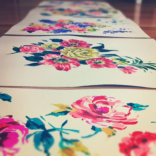 Painting Florals and Designing Textiles | A Sneak Peek Into the Process from Woking Girl Designs ~ Heart Handmade UK
