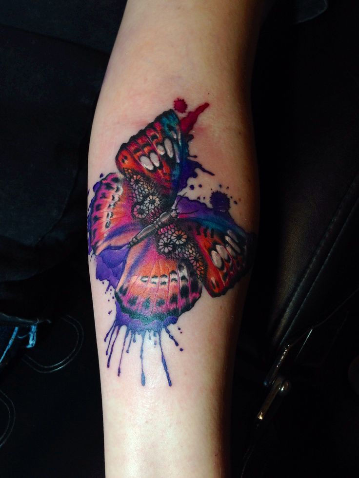 Watercolor Flower Moth Tattoo My Precious Ink: Watercolor Lace Fancy Butterfly. Tattoo By Cara Massacre