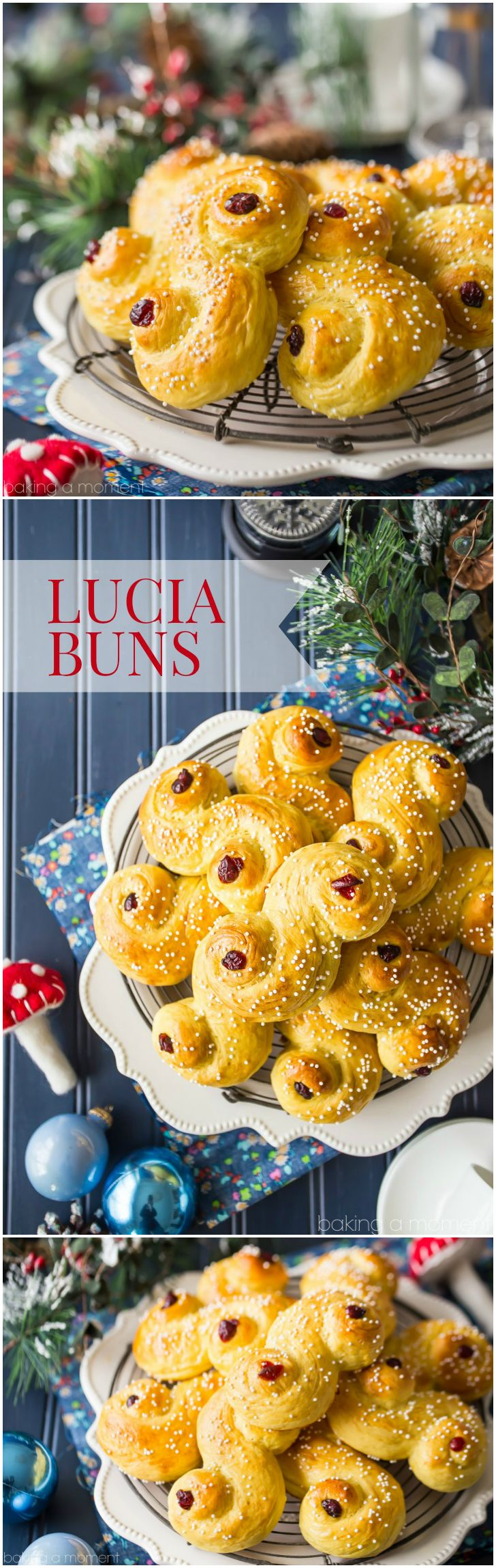"""Saffron yellow St. Lucia Buns in an """"S"""" shape, sprinkled with sugar and garnished with dried cranberries, on a cooling rack with a dark blue background with Christmas decorations."""