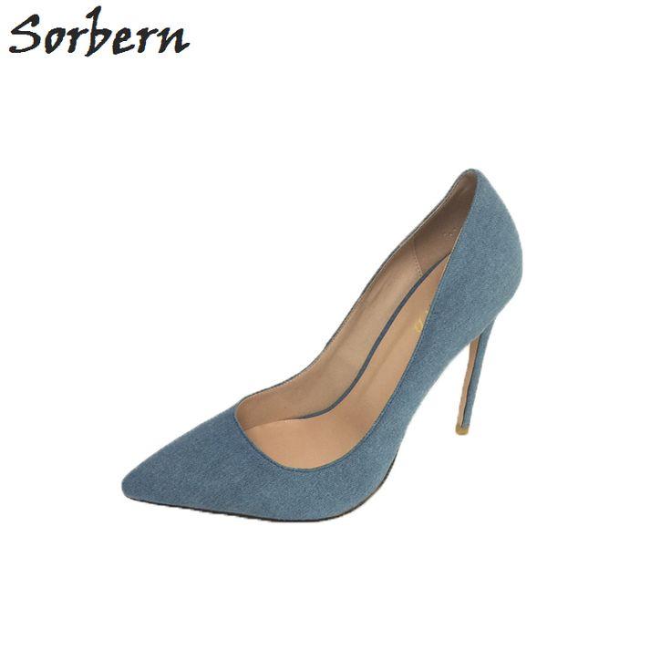 Sorbern Denim Blue Pump Shoes Women Pointed Toe Stilettos Ladies Shoes Heels Escarpins Sexy Size Eu34-46 Custom Colors #Affiliate