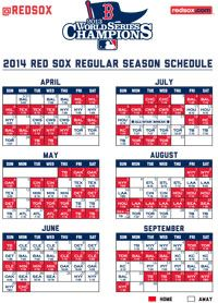 2014 RED SOX Printable Schedule http://boston.redsox.mlb.com/bos/schedule/printable.jsp