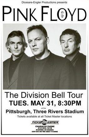 pink floyd concert posters | Limited Pink Floyd Division Bell Tour Concert Poster