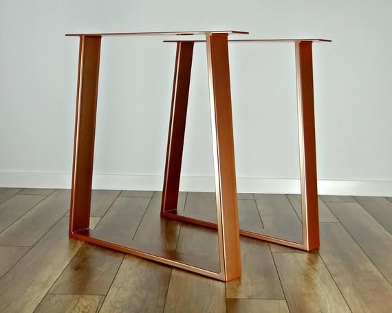 Metal Dining Table Legs Set Of 2 Copper Colour Steel Table Legs Table Base Trapezoid Metal Frame For Mid Century Modern Table Metal Table Legs Metal Dining Table Dining Table Legs