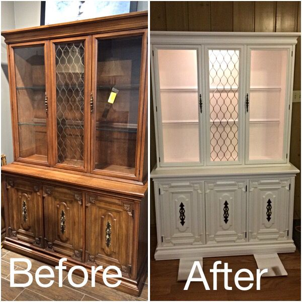 Chalk Paint On Kitchen Cabinets: Before & After Of An Old Hutch Painted With White Chalk