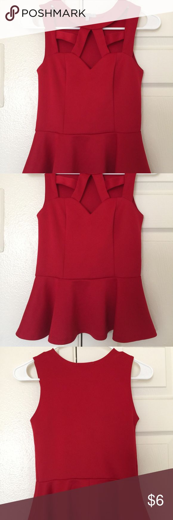 Charlotte Russe Sexy Red Peplum Top Size S Gorgeous and sexy red peplum top in a size small! In great condition! Charlotte Russe Tops Blouses