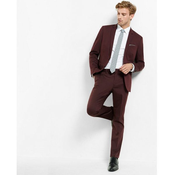Express Skinny Innovator Cotton Sateen Suit Pant ($88) ❤ liked on Polyvore featuring men's fashion, men's clothing, men's pants, men's dress pants, red, express mens pants, mens dress pants, mens red pants, mens slim fit pants and mens skinny fit dress pants