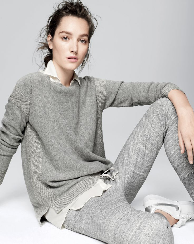 J.Crew women's Collection textured frame cashmere sweater and weekend skinny sweatpant. Comfortable, classic look.