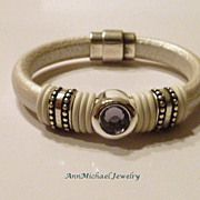 Metallic Pearl White Licorice Leather and Tanzanite Color CZ Bracelet
