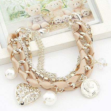 s148 Lovely hollow out heart the coin simulated pearl multielement weave multilayer bracelet women's bracelets & bangles