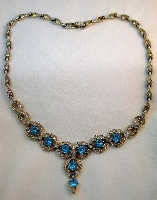 Vintage Bogoff Aqua Rhinestone Lavalier Drop Necklace