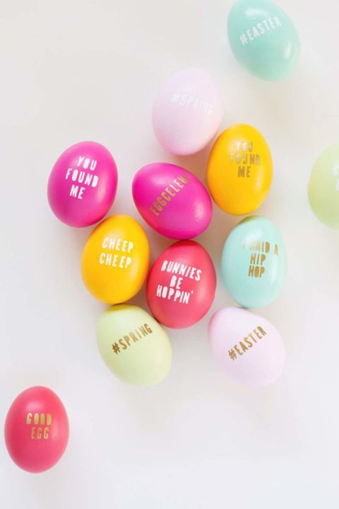 DIY Typography: Include a funny or sweet message on your Easter eggs this year with this easy DIY project. Click through to discover more DIY decorating ideas for your Easter eggs.