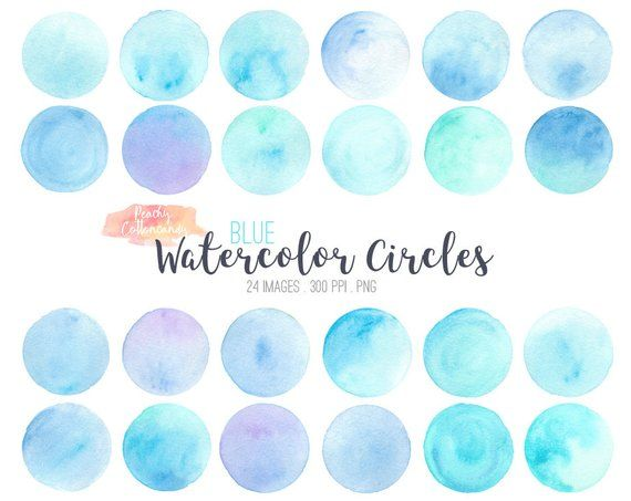 Buy 2 Get 1 Free 24 Blue Watercolor Circles Clip Art Watercolour