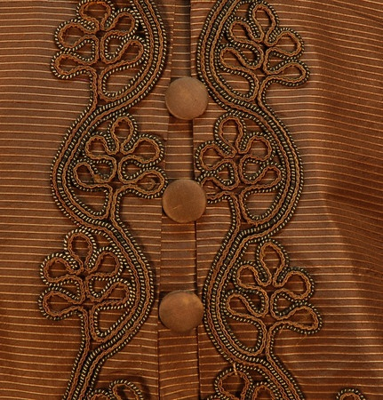"""Button Detail and Leaf Pattern Soutache of ribbed silk visiting dress with pelerine, c. 1865, buttons are decorative -- there is a front hook & eye closure, glazed cotton lining; bust: 32""""; waist: 28"""", skirt length: 46"""","""