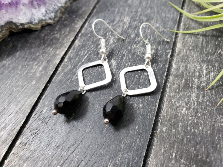 Silver and Black Geometric Dangle Earrings, Silver Diamond Earrings with Shiny Black Glass Teardrops, Lightweight Black and Silver Earrings