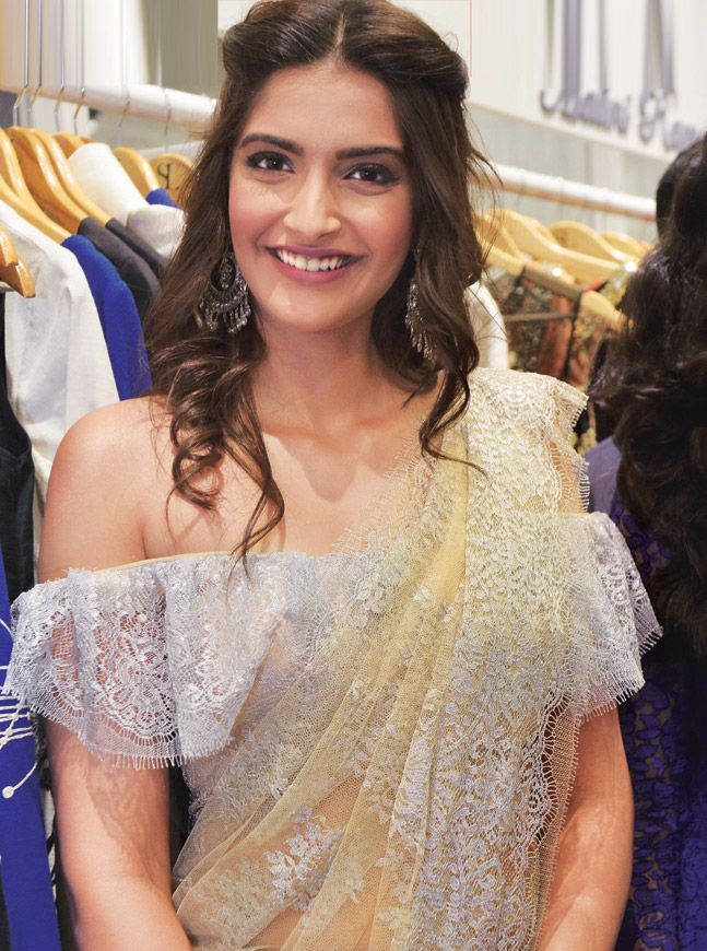 Sonam in Shehla Khan's off-shoulder blouse