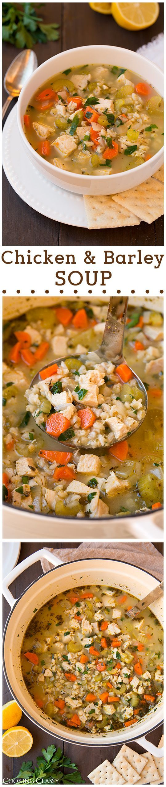 Chicken and Barley Soup - healthier than the traditional egg noodle chicken noodle but equally as good. LOVED this soup!