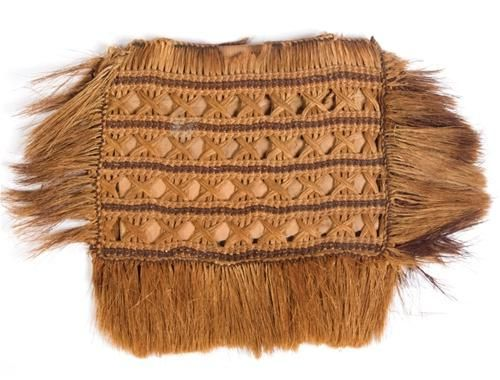 Finely woven Māori kete muka (flax bag),  flax fibre and with darkened fibre forming lateral bands.