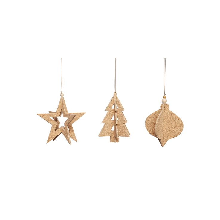Cork Christmas ornaments in a set of 3. Item number: 430305 - Designed by Hübsch
