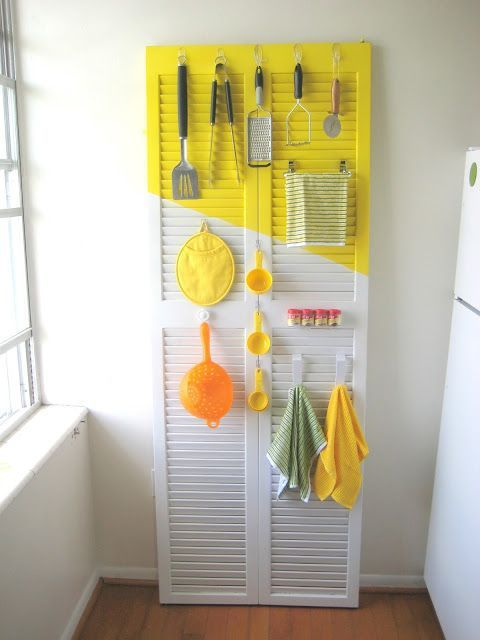 Diy Crafts Ideas : DIY  louvered door turned kitchen utensil rack. Just lean against a wall and ad