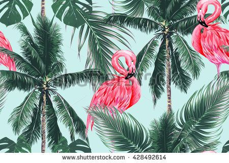 Pink flamingos, exotic birds, tropical palm leaves, trees, jungle leaves seamless vector floral pattern background