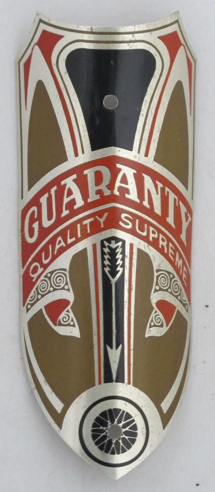 Guaranty Bicycle Head Badge bike Name Plate antique original old vintage in Bicycle Parts | eBay