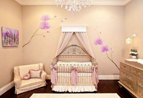 baby room girl vintage baby bed beige wall color wall stickers purpleorchids