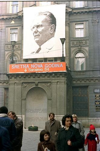 Poster of Josip Broz Tito on the wall in Sarajevo, Bosnia  Poster Josipa Broza Tita na zgradi u Sarajevu    [1984]