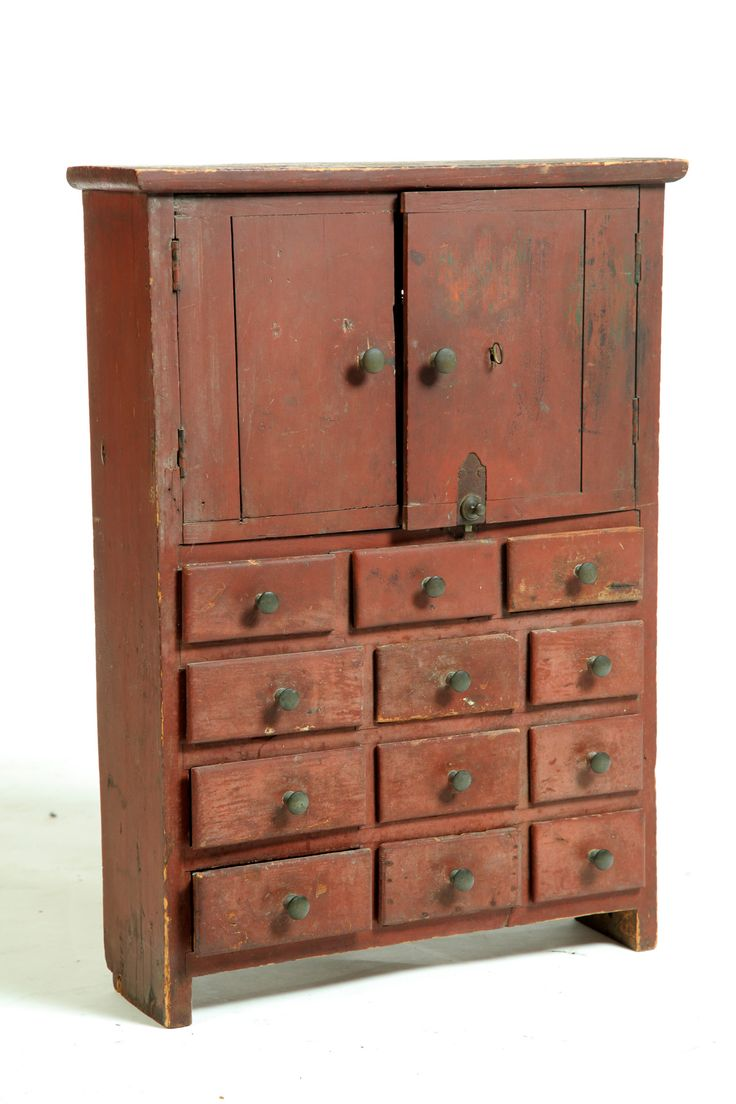 Vintage apothecary cabinet for sale - Diminutive Cupboard Cabinet American Century Pine Two Plank Doors Over Twelve Small Drawers Old Red Paint Garths