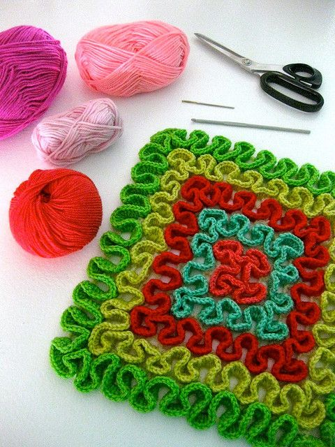 Squiggle stitch for trivets, runners, pillowcases ...