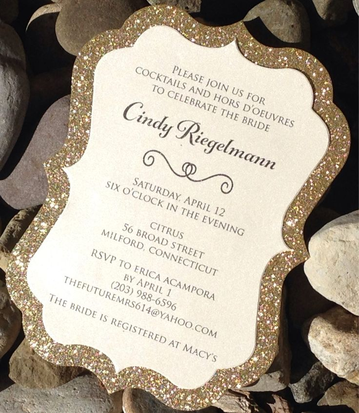 wording for wedding invites evening%0A Invite your guests to your bridal shower in style with these real glitter  invitations  Purchase the quantity needed  minimum of and then send your  wording