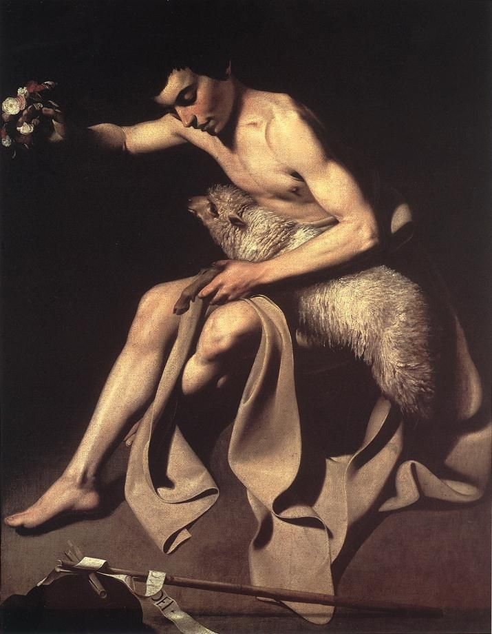 St John The Baptist, Oil by Caravaggio (Michelangelo Merisi) (1571-1610, Italy)