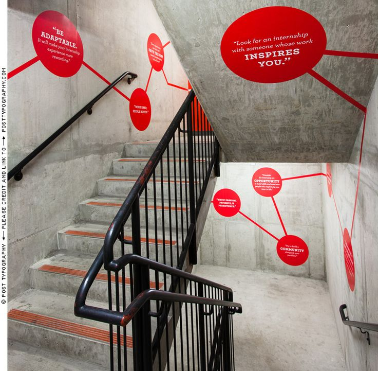 Stairwell and environmental graphics for MICA Career Center | design by posttypography.com