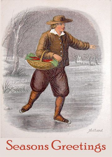 A6 Greeting Card A Dutchman Skiing 1840s-105mm x by Fast4Wards