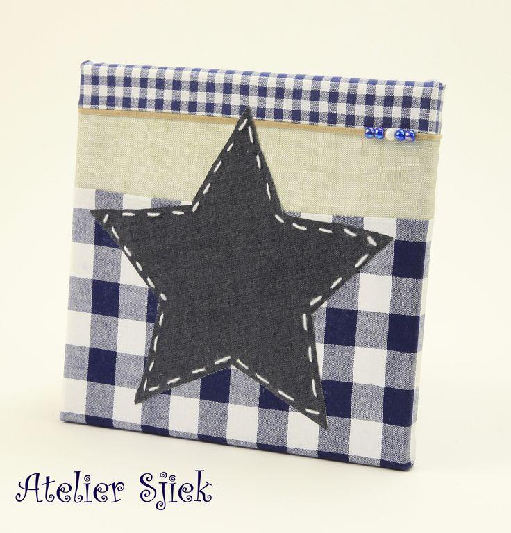 Handgemaakt schilderijtje ster www.ateliersjiek.nl #schilderij #kinderkamer #jongen