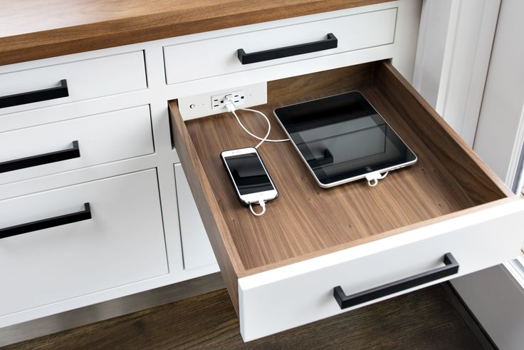 Docking Drawer offers in-drawer outlets that can be used to charge or power devices with little to no cabinet customization.