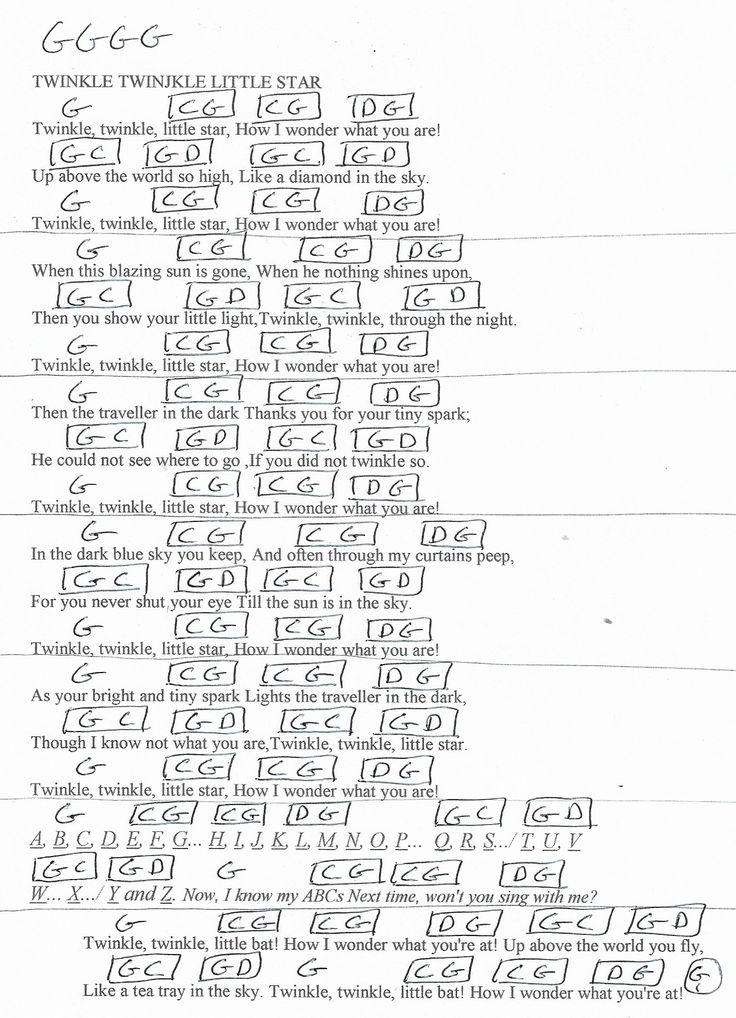 Twinkle twinkle little star guitar chord chart in g