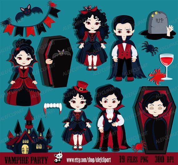 Vampire Party Digital Clip art. Vampire kids costume clipart