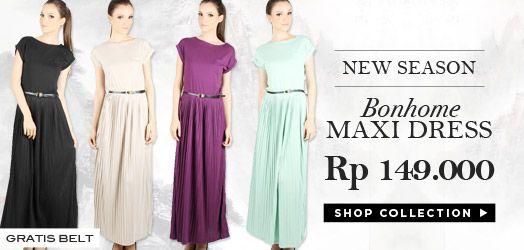 Koleksi maxi dress untuk hijab style kamu yuk sis! Harga mulai 79ribuan aja lho. Shop> http://Dyah-Setyo.pinkemmaku.com