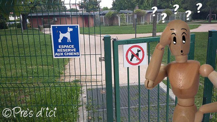 Jardin Serveyrolles à Toulouse avec Square de jeux pour enfants et aire d'ébats pour chiens ( problème de signalétique... ;-)  )