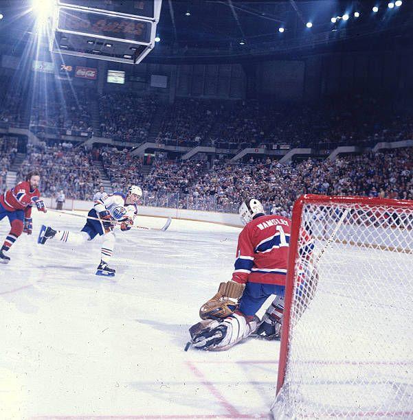 Edmonton Oilers Wayne Gretzky in action shot vs Montreal Canadiens goalie Rick Wamsley at Northlands ColiseumEdmonton Canada 2/5/1983CREDIT Manny...
