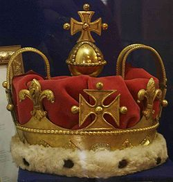 British Crown Jewels: The Coronet of Frederick, Prince of Wales - 1728 for Frederick, Prince of Wales, Heir Apparent of King George II. The solid gold single arched coronet was manufactured probably by royal goldsmith Samuel Shales. It was used both by his son, George III and his grandson, George IV when each was Prince of Wales. Instead being worn it is carried on a cushion ahead of the Prince in procession. The coronet was last used by King Edward VII when he was Prince of Wales.